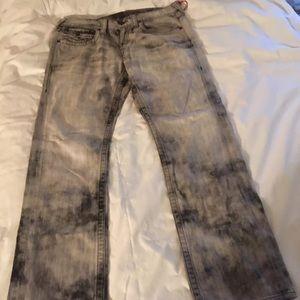 True Religion Ricky Jeans Gray/Black Acidwash 33